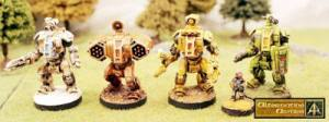 Now released in the HOF Range four new 15mm scale Battlesuits!