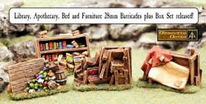 Library, Apothecary, Bed and Furniture 28mm Barricades plus Box Set of Eight released!