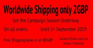Worldwide Shipping just 2GBP (2.4USD) until 1st September 2019