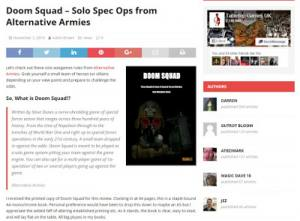 Tabletop Games UK impartial review of Doom Squad solo rules