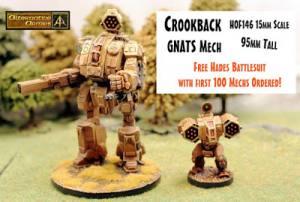 Crookback GNATS Mech 95mm tall released first 100 get free Hades Battlesuit!