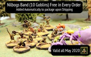 Nilbogs Goblin Band ten miniatures free in every May order plus May News