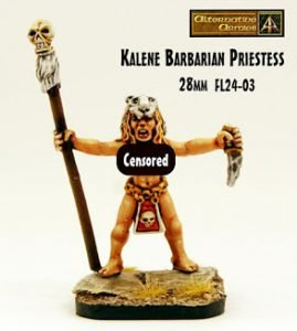 Kalene the Barbarian Priestess 28mm released and free too!
