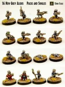 Grey Aliens sixteen new 15mm poses released