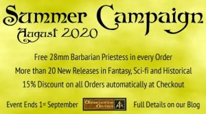 Summer Campaign 2020 – 15% off orders, 20 new releases, free miniature