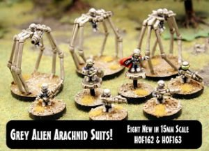 Grey Alien Arachnid Suits eight new 15mm releases