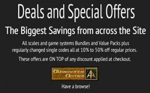 Alternative Armies page of deals and special offers