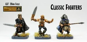 CA7 Classic Fighters three remastered 28mm fantasy miniatures