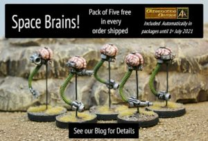 Space Brains pack of five free in June orders plus news of coming month