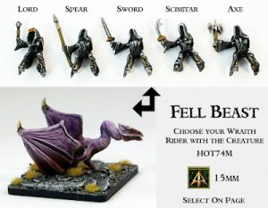 HOT74 Fell Beast alone and with choice of Wraith riders by request
