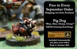 Savage Dog free in orders and what is coming September 2021 at Alternative Armies