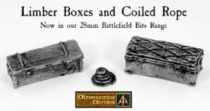 Limber Boxes and Coiled Rope added to 28mm Battlefield Bits range